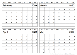 April May 2020 Calendar Printable February March April May 2020 Calendar To Print All 12