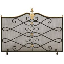 custom steel and brass fireplace screen and mesh for