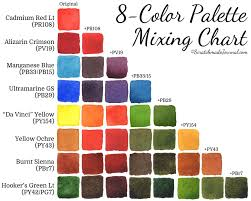 A Printable 8 Color Watercolor Palette Mixing Chart