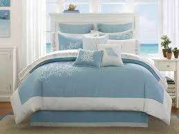 nautical brown blue beach themed bedding for adults bedroom with