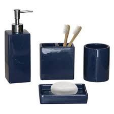 hometrends <b>4</b>-<b>piece Bath</b> Accessories Set - Solid Blue | Walmart ...