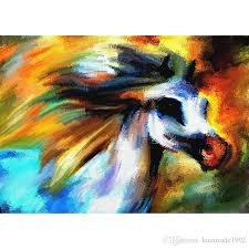 2019 hot glass painting handmade abstract horse oil painting full paste cotton square cross stitch home decoration paintings drop from