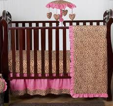 pink and brown cheetah animal print designer baby girl crib bedding set