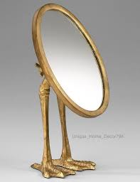 great brass vanity mirror new gold duck foot bird sculpture tabletop oval makeup e bay with