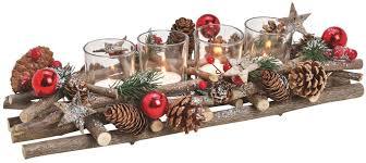 Gesteck Advent Weihnachten Dekoriert Mit Zapfen Grün Rot 4 Teelichtgläser 40 Cm Matches21