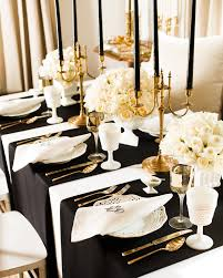 Vintage Art Deco Wedding Decorations With Black Thin Candles And White  Flowers On Square Table ...