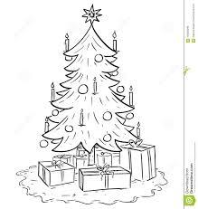 christmas tree with presents drawing. Plain Christmas Cartoon Illustration Of Christmas Xmas Tree With Gifts To With Presents Drawing H