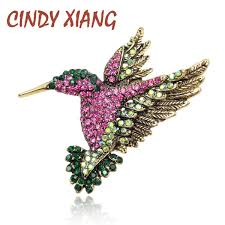 2019 <b>CINDY XIANG Colorful</b> Rhinestone Hummingbird Brooch ...