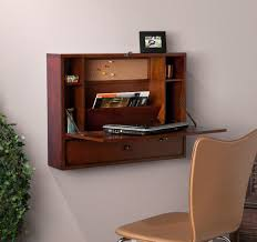 image of wall mounted folding computer desk with drawers