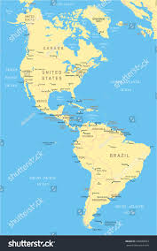 north south america map highly detailed stock vector