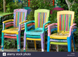 colorful painted furniture. Colorful Painted Chairs In Garden Furniture I