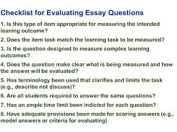 evaluation essay topics useful evaluation essay topics ideas essay  edu session writing supply items short answer and essay checklist for evaluating essay questions 1