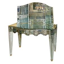 venetian mirrored 2 drawer vanity with trifold mirror at 1stdibs