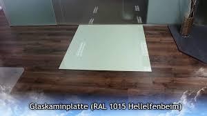 Funkenschutzplatte Glasplatte Ofenplatte Ral 1015 Hellelfenbeim Kamin Ofen