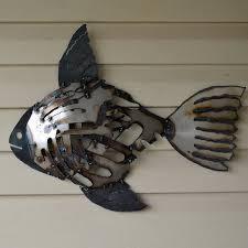 recycled metal fish wall art mosaic