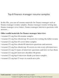Sample Resume For Accounting Manager Sample Cv Finance Manager Resume Template Accounting Best Financial