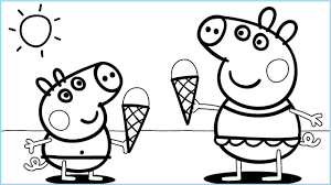 peppa pig ice cream coloring pages for kids peppa coloring book pig coloring page 5
