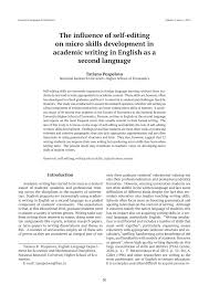 Academic Paper Help Academic Essay Writing Editing The Influence Of Self Editing On Micro Skills Development In