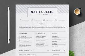 One Page Resume Cv Template Resume Templates Creative Market