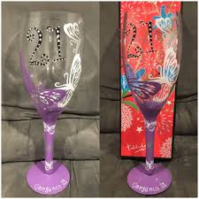 giant painted 21st birthday wine glass