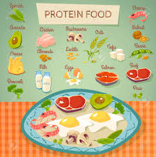Protein Rich Food Flat Poster With Meat Eggs Dairy And Vegetables