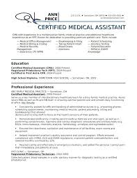 Certified Medical Assistant Resume Samples Examples Of Medical