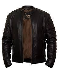 leather jacket men black real sheep biker slim fit jacket free to uk