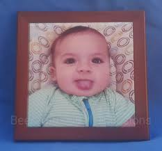 photo tile 150mm x 150mm in a wooden frame