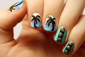 PackAPunchPolish: Palm Tree Gradients and Studs Nail Art Inspired ...