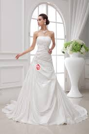 straight across asymmetrical pleats taffeta wedding dress lunss