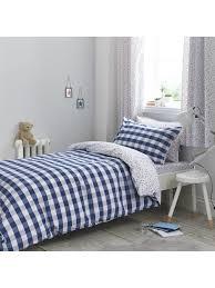 little bianca gingham cotton print duvet set blue