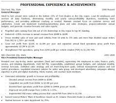 Automotive Resumes General Manager Resume Sample