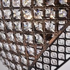 marya 4 light antique copper round drum semi flush mount crystal chandelier