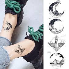 черная маленькая луна временные татуировки наклейки женщины рука лодыжки