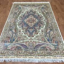 Inexpensive Rugs For Living Room Amazoncom 5ftx8ft Traditional Blue Qume Handmade Silk Carpets