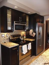 Cherry Wood Kitchen Cabinets L Modern Small Kitchen Design With Black Painted Cherry Wood