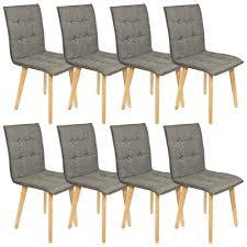 8 Set Stühle Esszimmer Holz Retro Design Grau Kingpower