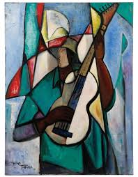original painting by the renowned african american artist william tolliver 1951 2000 titled guitar player in green