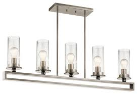 classic pewter linear chandelier 5 light clear seeded glass