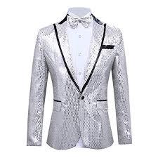 Mens Slim 2 Piece Paillette Host Show Party Jacket Coat