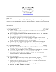 Sample Resume Objectives For Sales And Marketing New Sample Resume