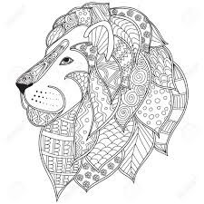 Small Picture Hand Drawn Ornamental Outline Lion Head Illustration Decorated
