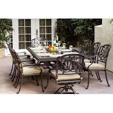 wonderful darlee elisabeth 9 piece cast aluminum patio dining set with granite top table brown granite
