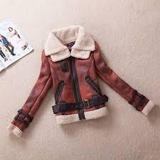women pu leather suede motor bike jacket fleece coat jpg