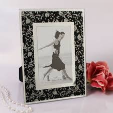 home new favors large glass photo frame black damask
