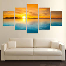 Small Picture 5 Pieces Landscape Canvas Painting Blue Sea and sunset HD large