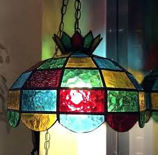 70s hanging lamp swag stained glass vintage swag hanging glass lamp chain globe antique 70s seventies pendant