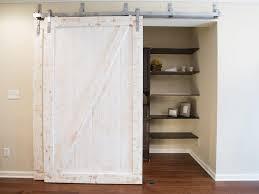 wooden sliding barn door closet