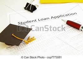 Student Loan Application Form And Mini Graduation Cap.