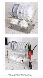 Space Saving Dish Rack China Space Saving Stainless Steel 2 Tier Dish Rack And Drainer